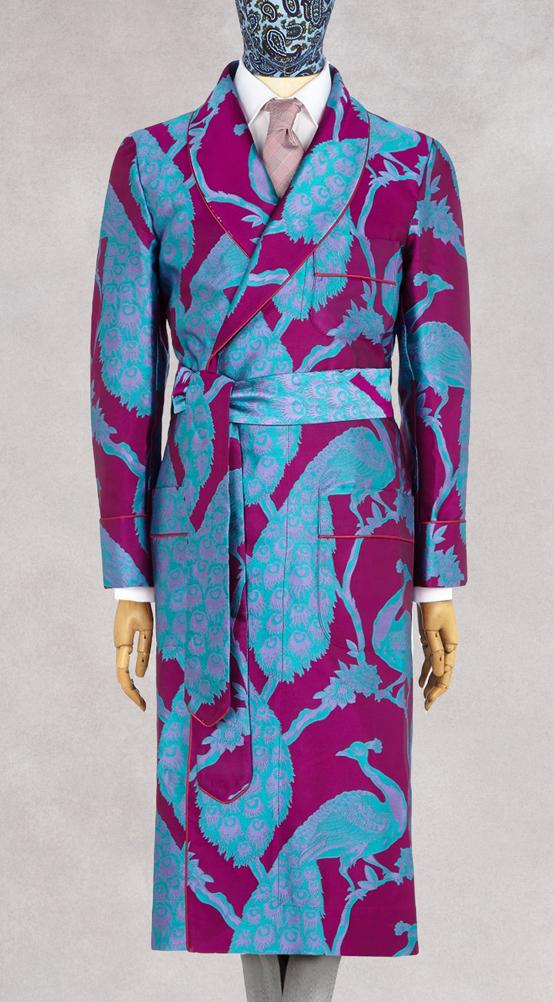 Fuchsia & Turquoise Peacock Unlined Silk Dressing Gown