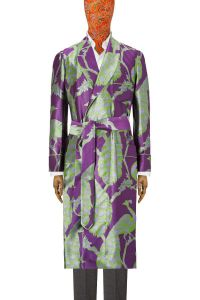 Purple Peacock Unlined Silk Dressing Gown | New & Lingwood Men's Clothing | Men's Luxury Silk Dressing Gowns