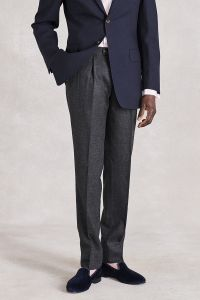 Charcoal Sports Flannel Front Pleat Trousers