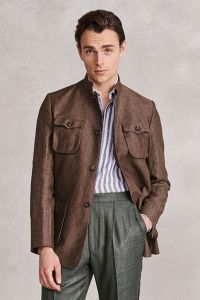 Brown Single Breasted Deconstructed Linen Nehru Jacket