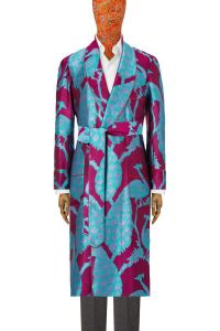 Fuchsia & Turquoise Peacock Unlined Silk Dressing Gown | New & Lingwood Men's Clothing | Men's Luxury Silk Dressing Gowns