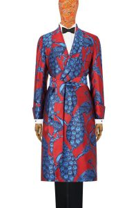 Red & Blue Peacock Unlined Silk Dressing Gown