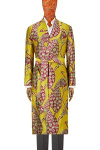 Yellow & Pink Peacock Unlined Silk Dressing Gown