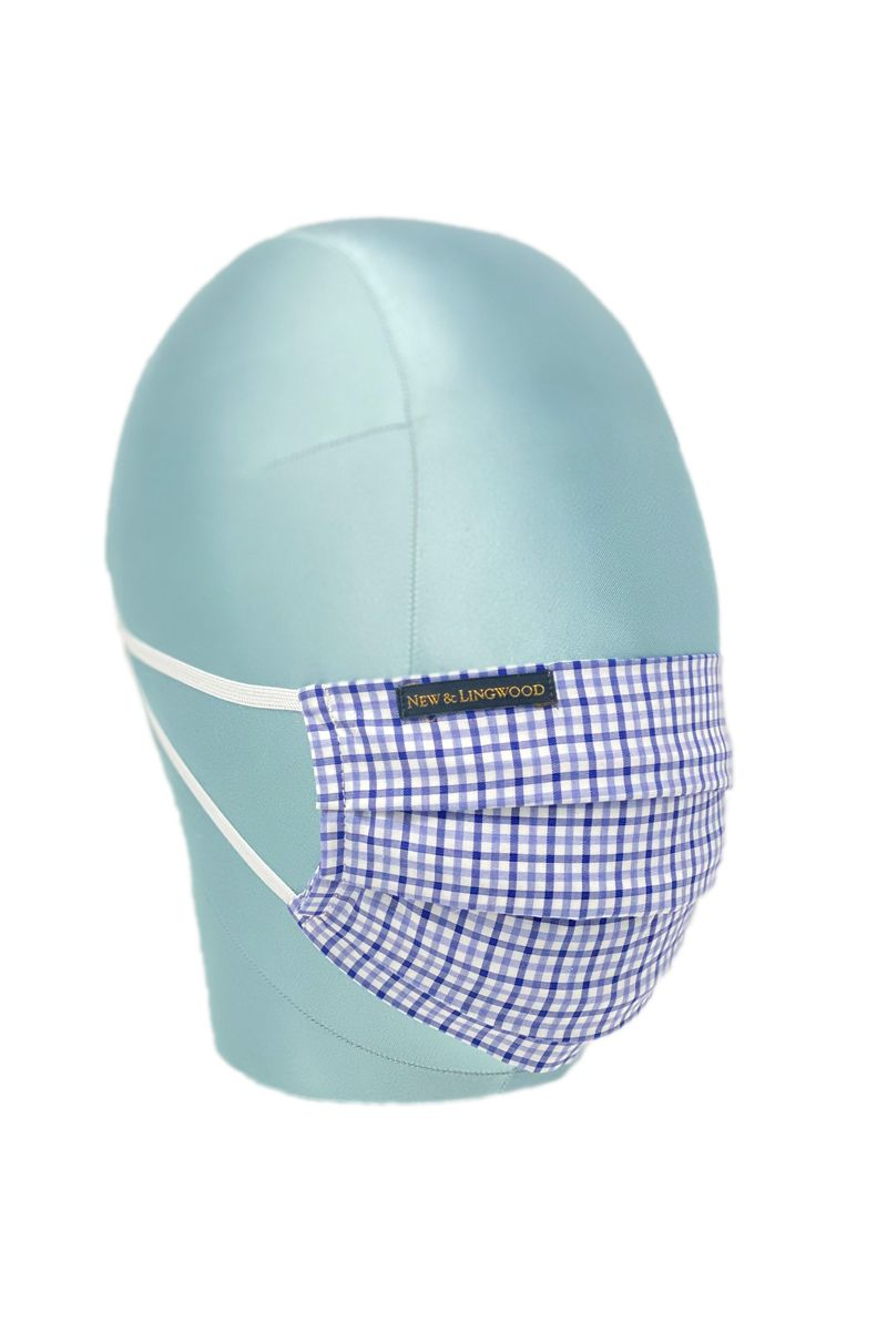Blue Large Tattersall Check Cotton Face Mask