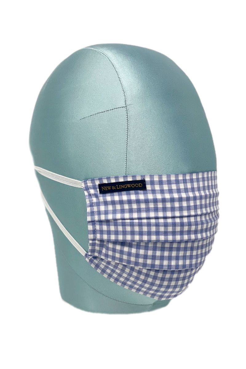 Blue Gingham Check Cotton Face Mask